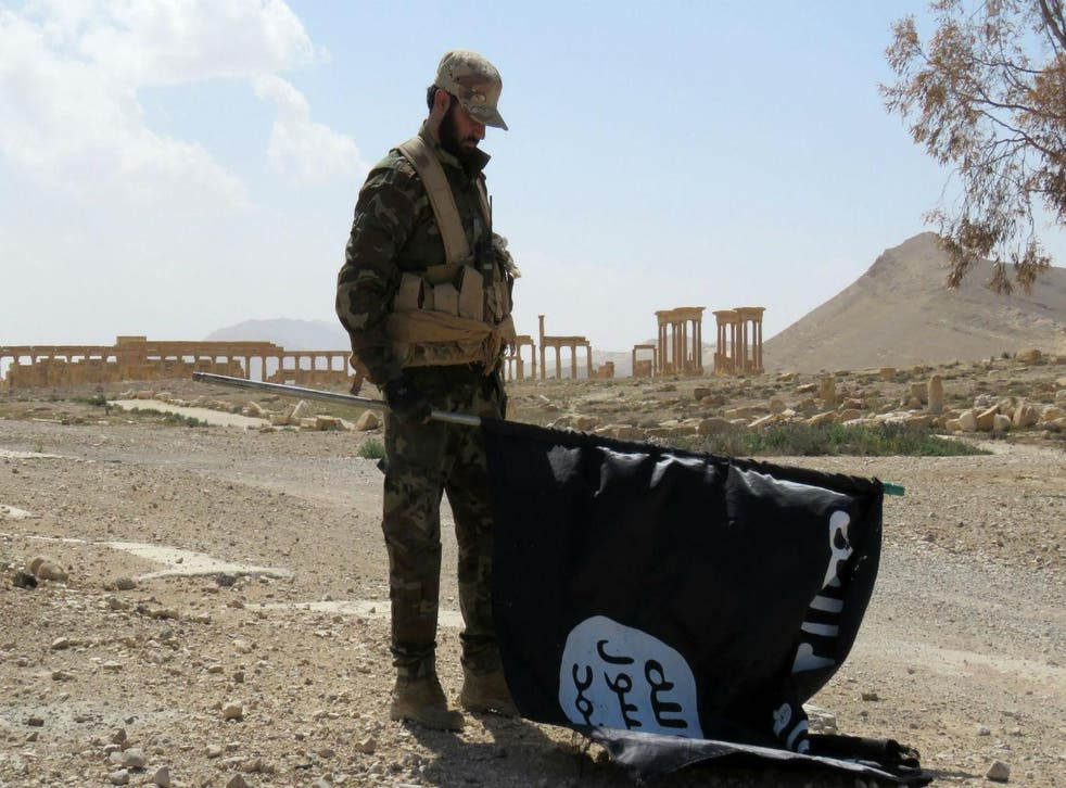 A member of the Syrian pro-government forces carries an Isis flag in Palmyra on 27 March 2016