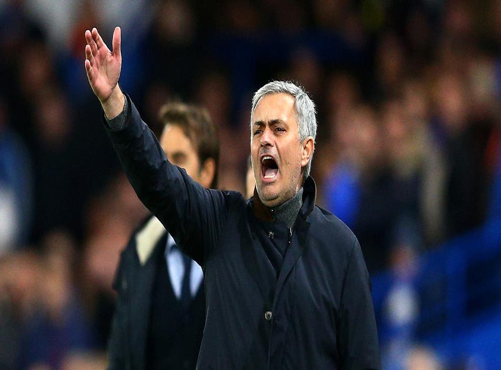 Jose Mourinho shouts during the UEFA Champions League match between Chelsea and FC Porto