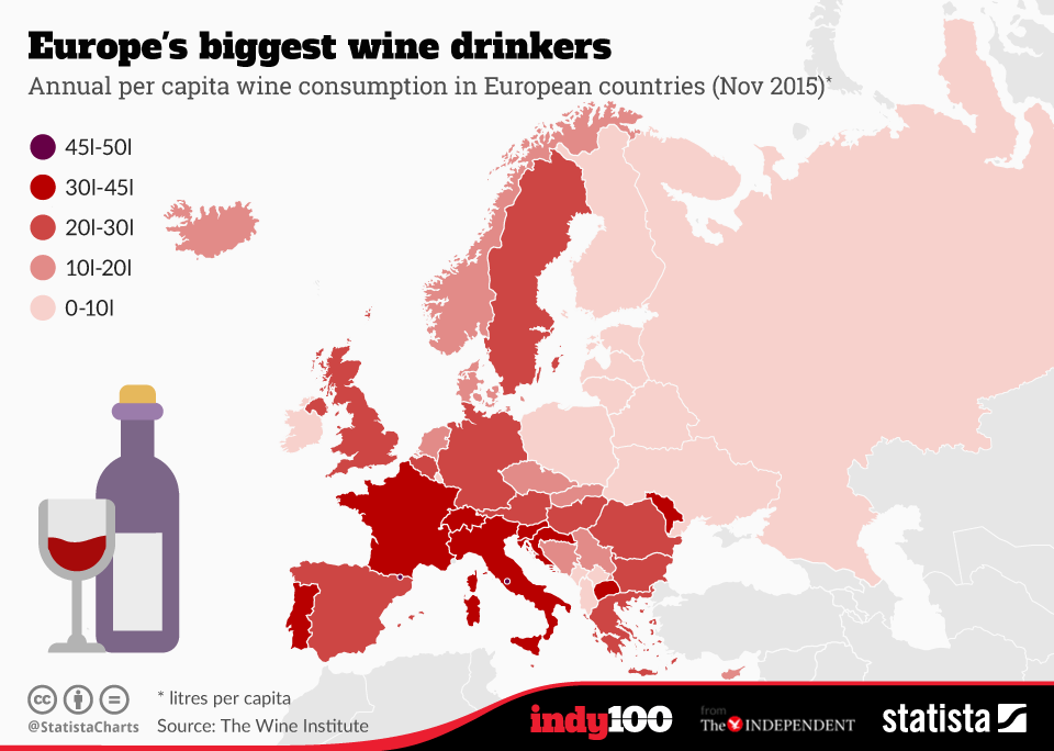 A Map Of Europe According To The Countries That Drink The Most Wine