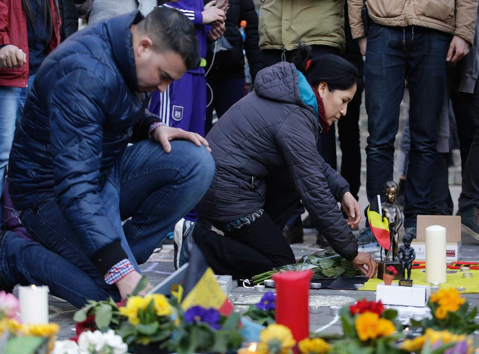 A makeshift memorial following attacks in Brussels, 22 March 2016