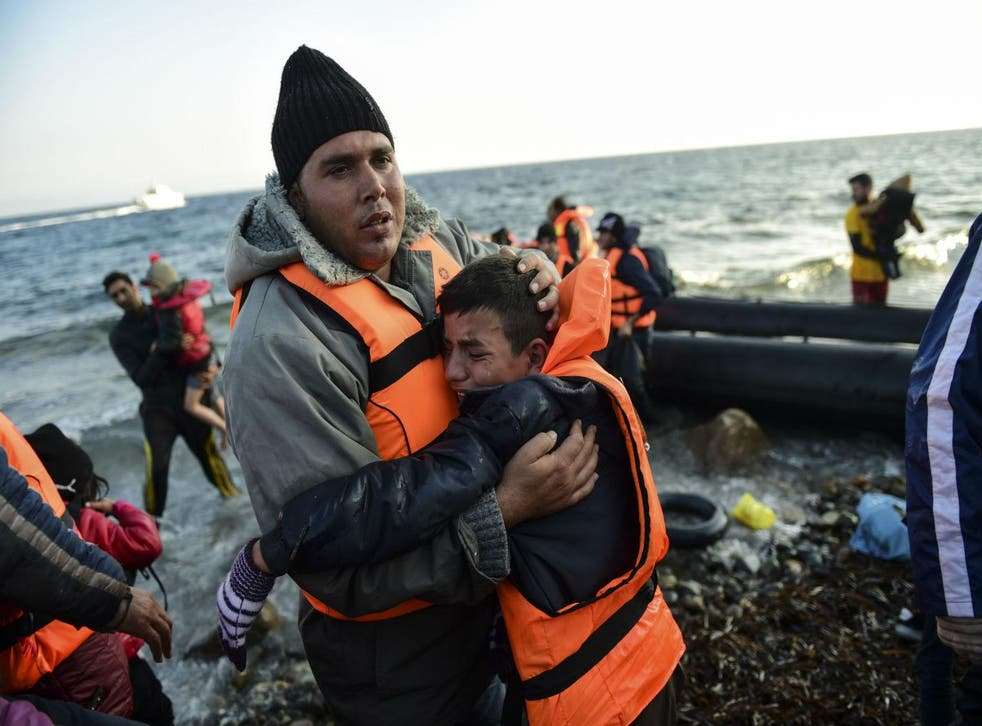 People  arriving on the Greek island of Lesbos on November 17, 2015
