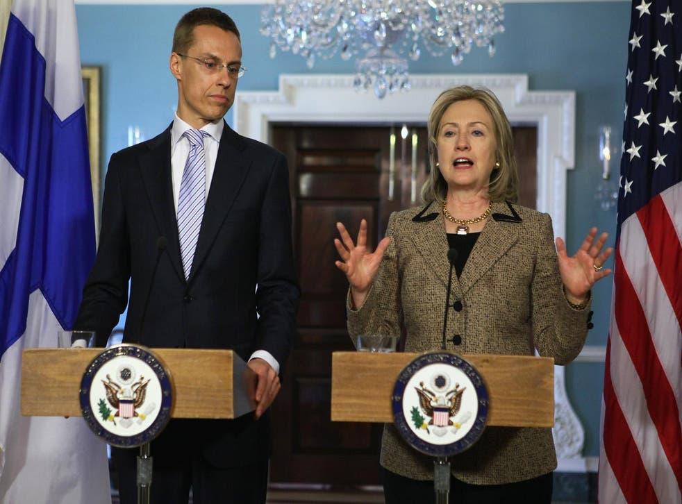US Secretary Hillary Clinton speaks as Finnish Foreign Minister Alexander Stubb listens on 11 April 2011 in Washington, DC