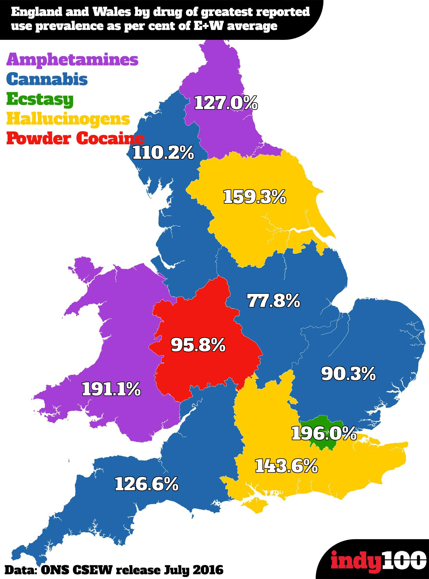 The Map Of England.The Map Of England And Wales By Drug Of Preference Indy100