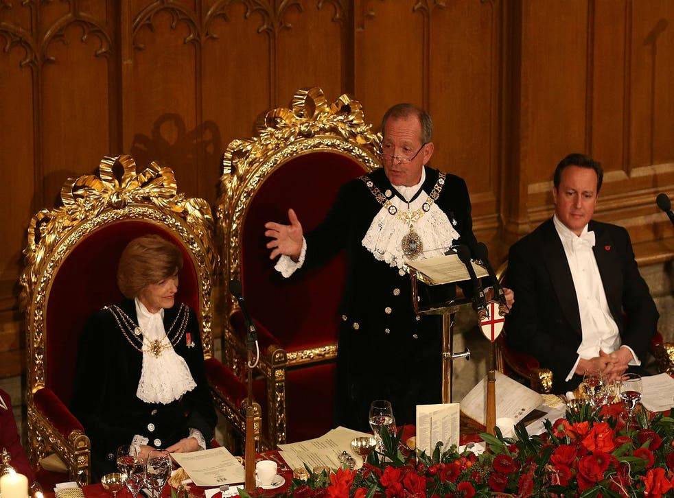 David Cameron attends the Lord Mayor's banquet