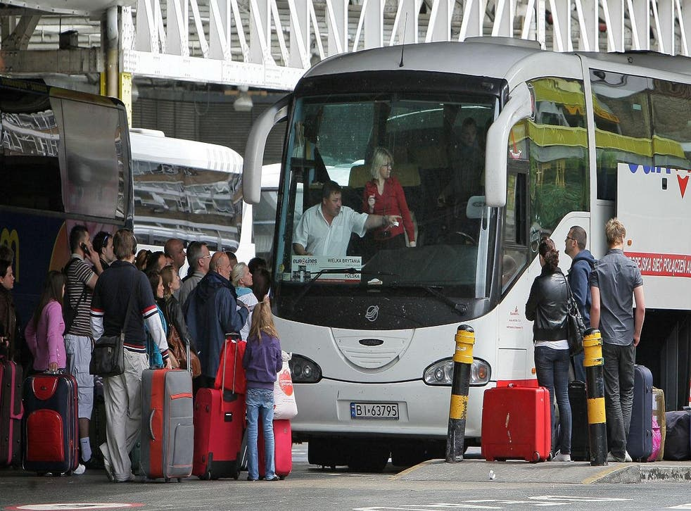 Passengers board a bus leaving for Poland from Victoria coach station on May 20, 2009 in London, UK. Picture: Dan Kitwood/Getty Images