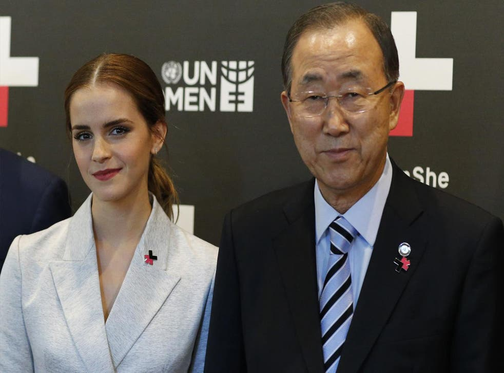 UN Women Goodwill Ambassador Emma Watson and UN Secretary General Ban Ki-moon