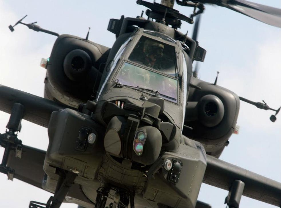 An Apache attack helicopter on a training mission at RAF Lyneham, 2008