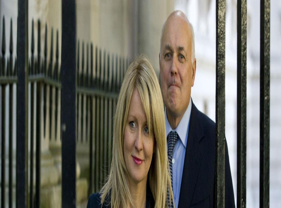 Iain Duncan Smith and employment minister Esther McVey arrive at Downing Street