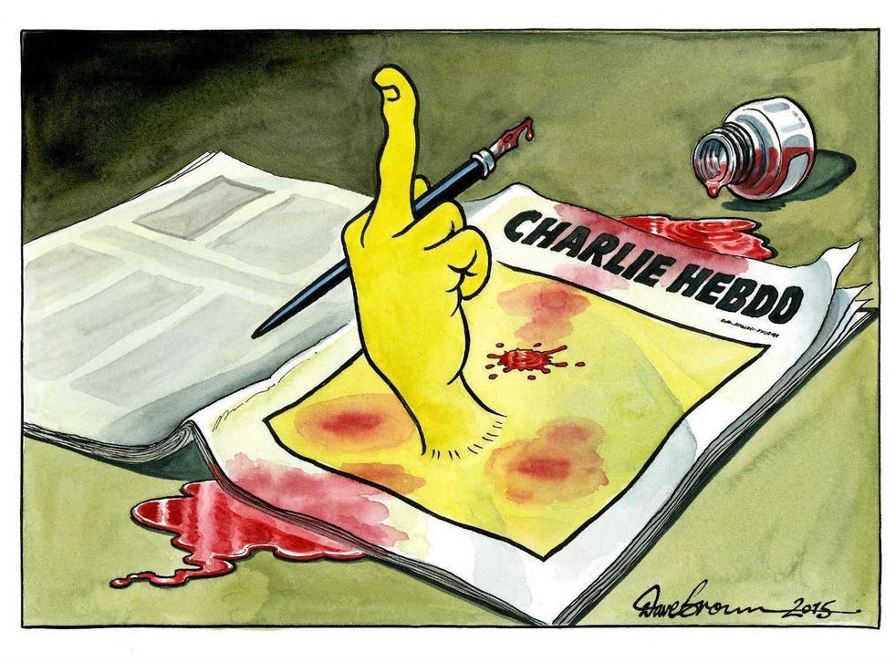 This was the Independent's editorial cartoon the day after the Charlie Hebdo attacks