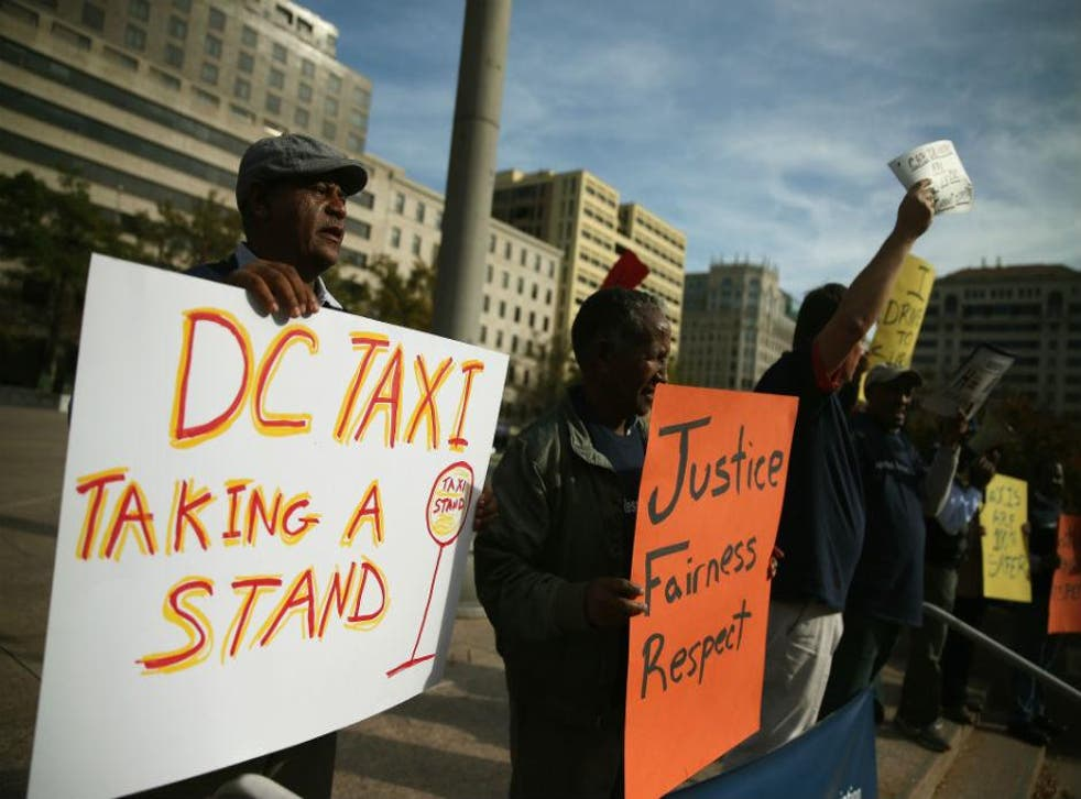District of Columbia taxi drivers protesting in October