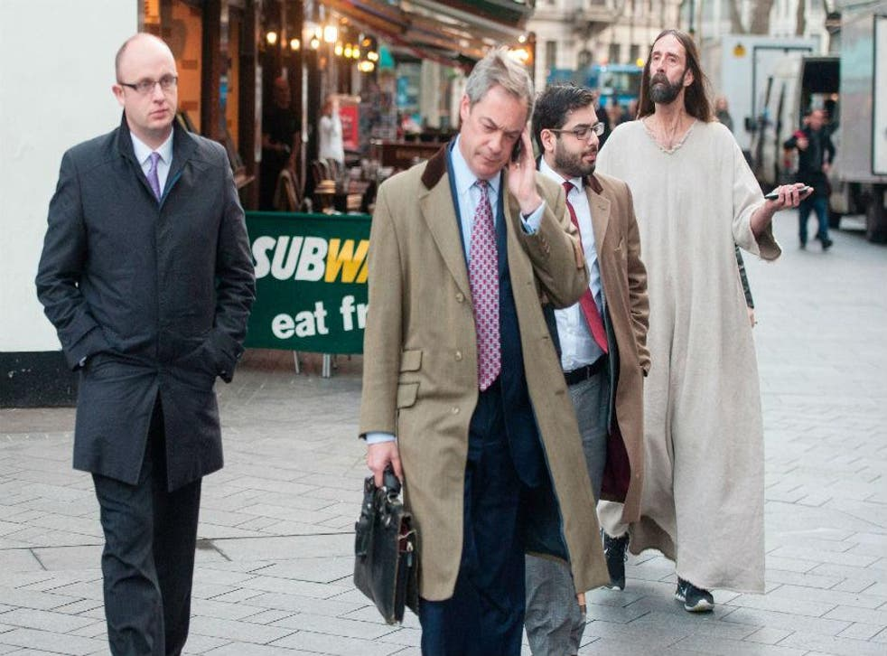 Nigel Farage has been followed around by a man dressed as Jesus