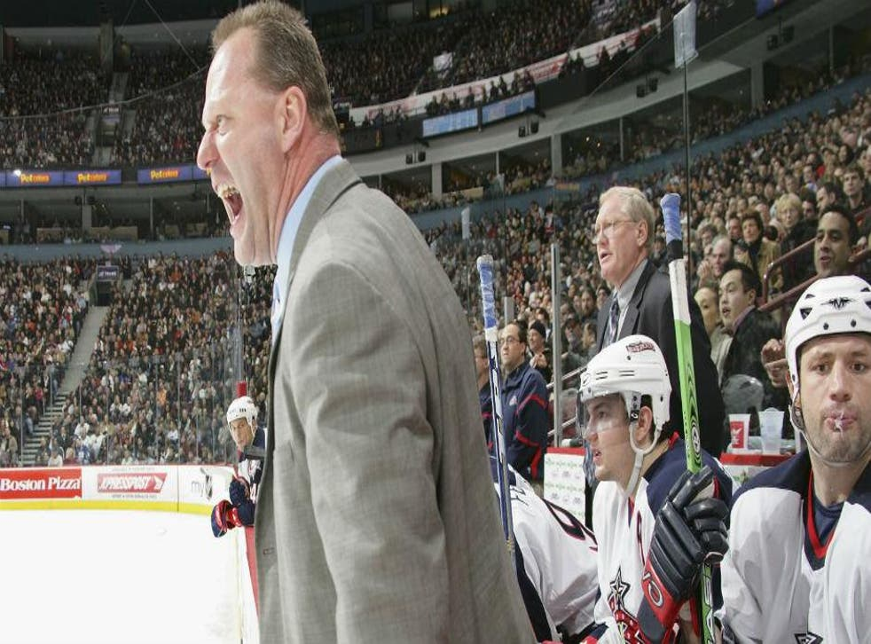 Just look at Columbus Blue Jackets head coach Gerard Gallant. Surrounded by ice. Angry