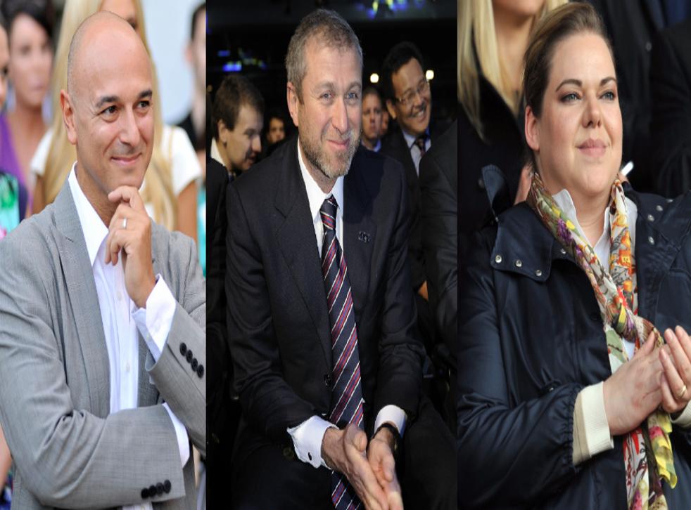 In the money: Tottenham's Daniel Levy, Chelsea's Roman Abramovich and Southampton's Katharina Liebherr
