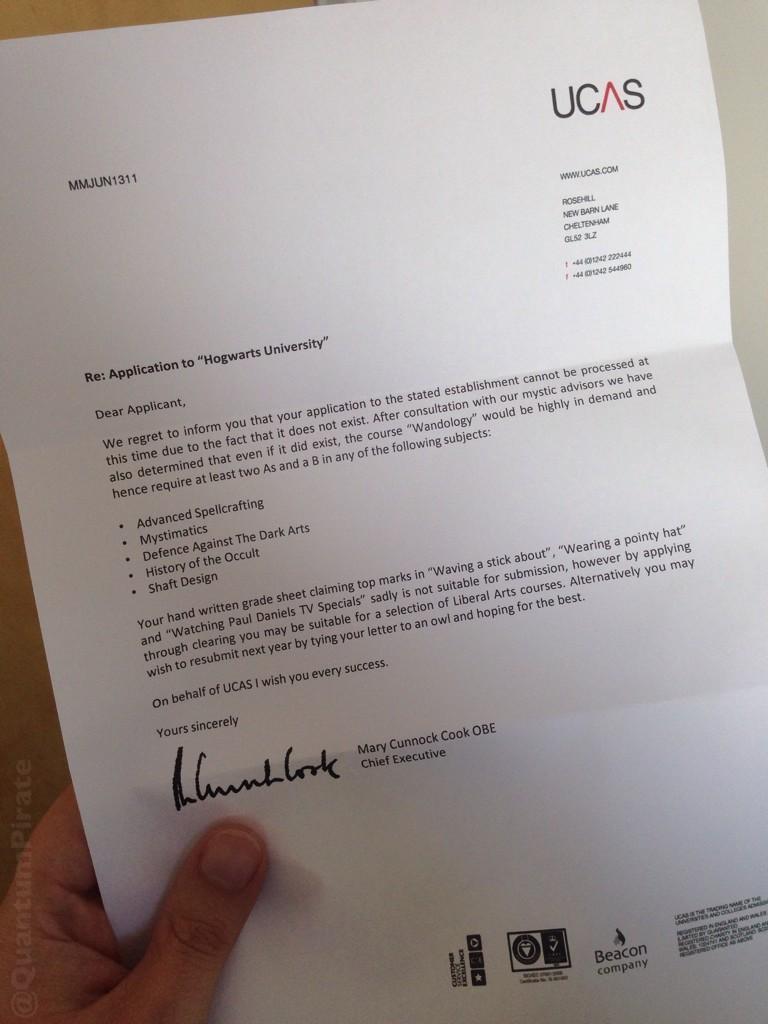 RE That Ucas Application Letter To Hogwarts University