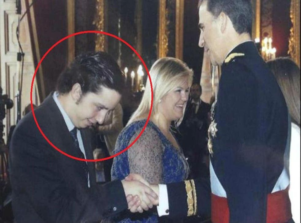 'Little Nicolas' shaking the hand of the new king, Felipe VI, at the Royal Palace last June