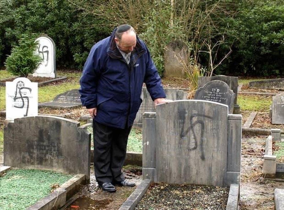 Graves vandalised at a Jewish Cemetery in Aldershot, Hampshire, in 2005
