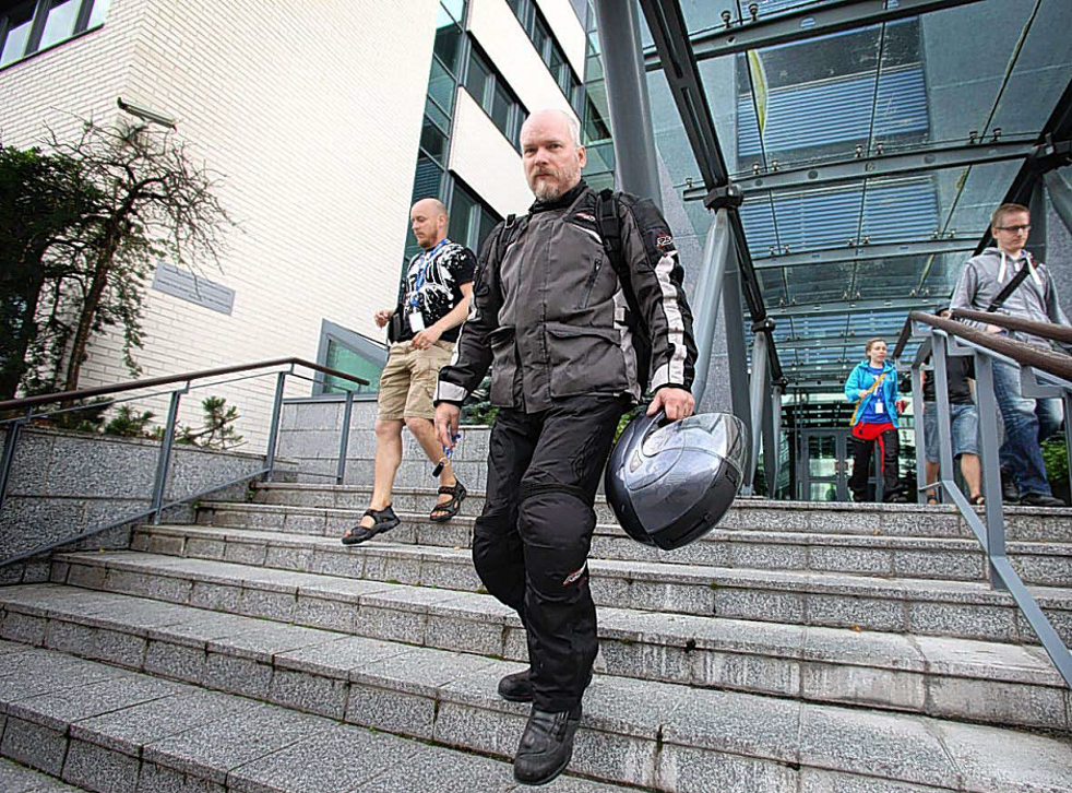 Workers leave software company Microsoft's office,  in Oulu, Finland