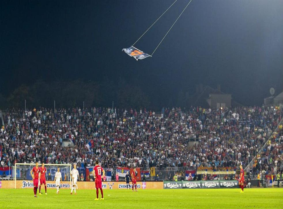 """The """"Greater Albanian"""" flag appeared in the first half"""