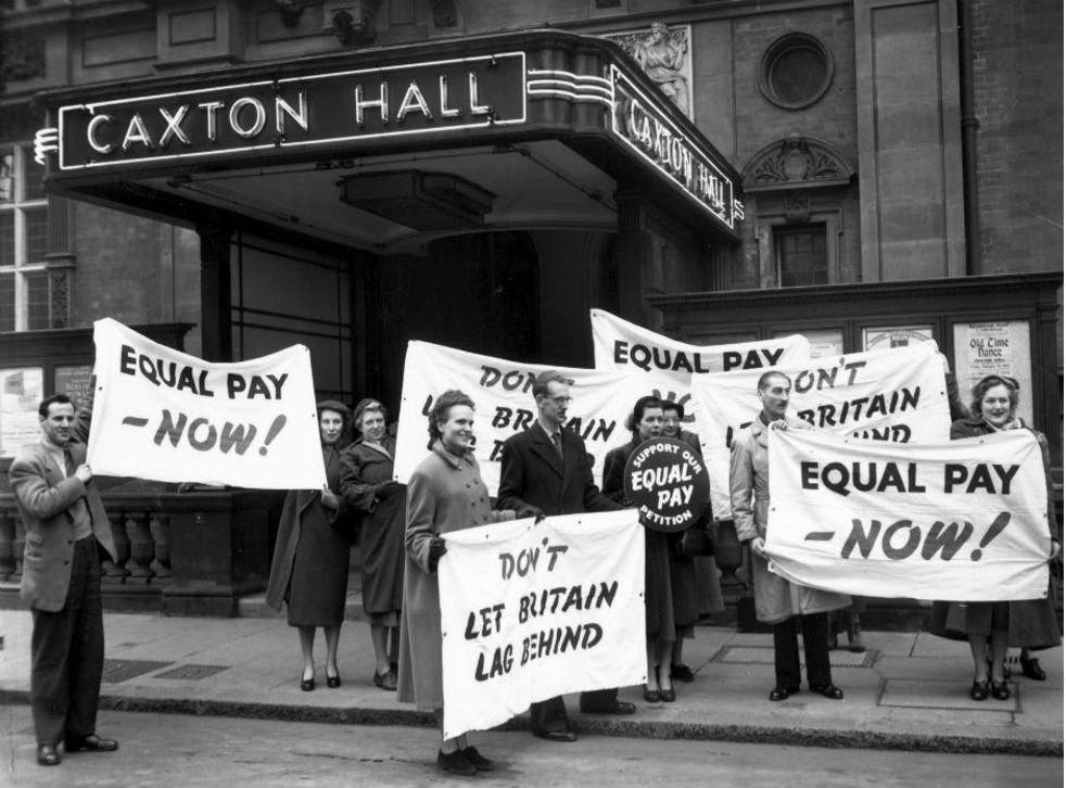 Equal pay campaigners in London, 1954. Sadly, their banners are still apt today, 60 years on
