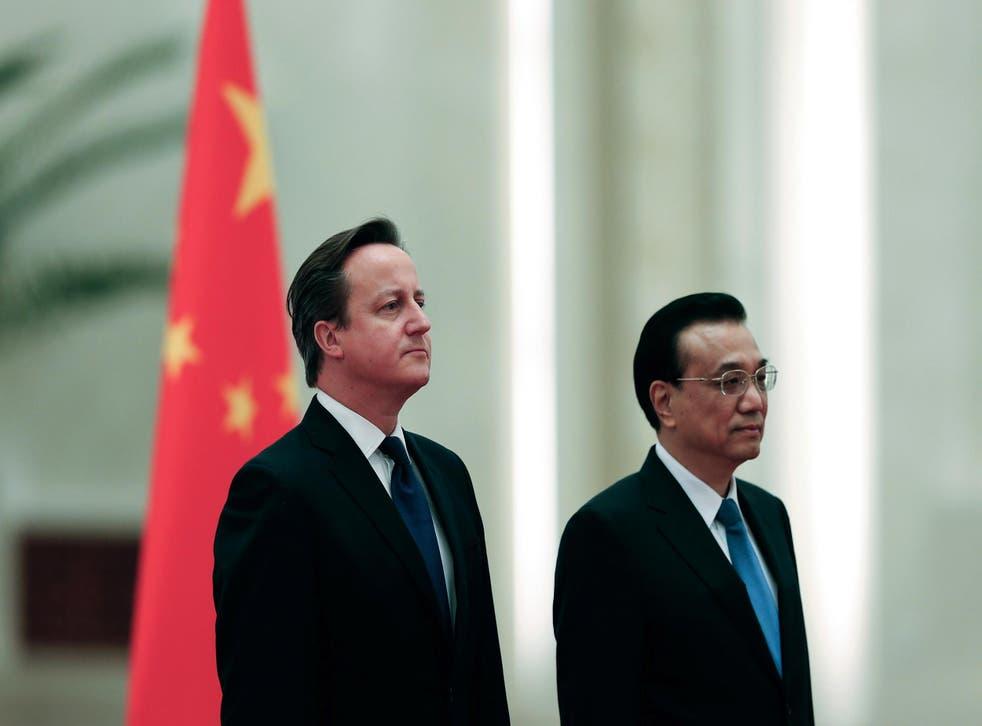 David Cameron with Chinese Premier Li Keqiang