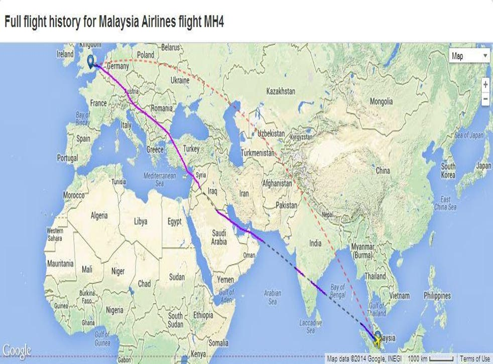 The purple line shows MH4's flight path on 20 July 2014