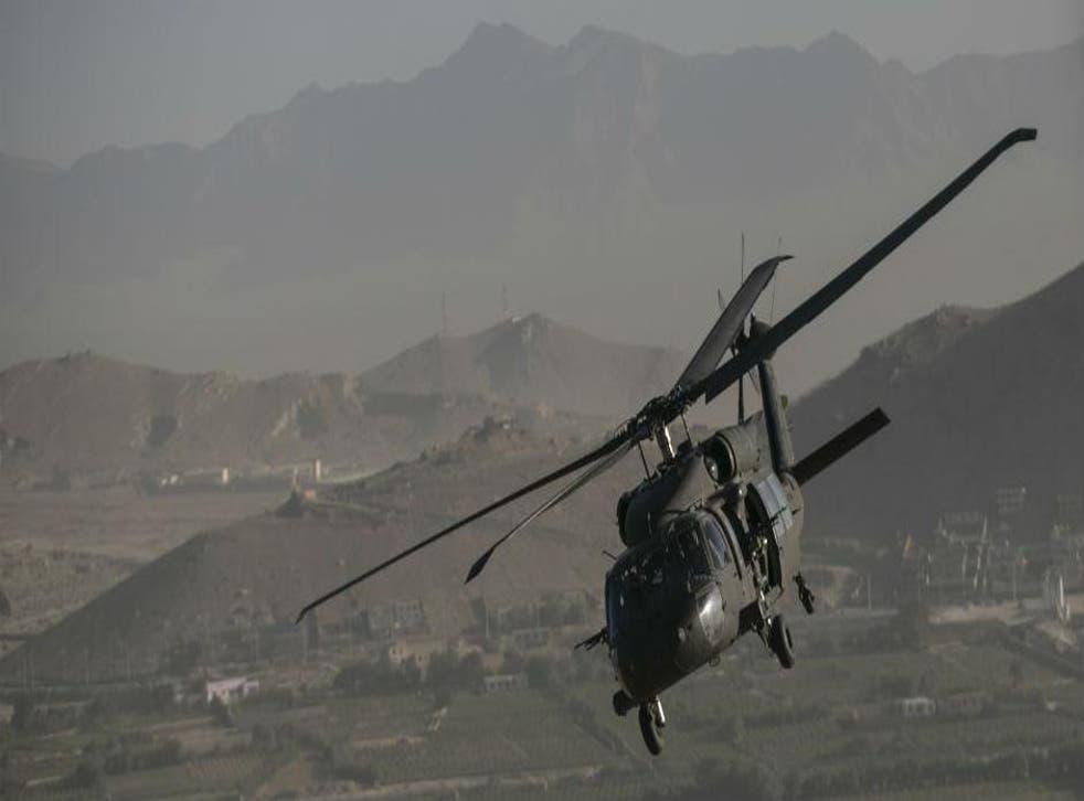 A Black Hawk helicopter near Kabul, Afghanistan