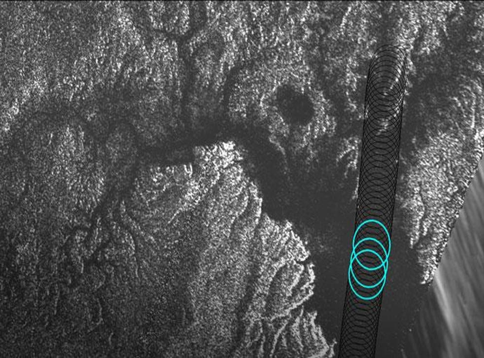 Cassini's radar instrument images show that a bright feature appeared in Kraken Mare, Titan's largest sea