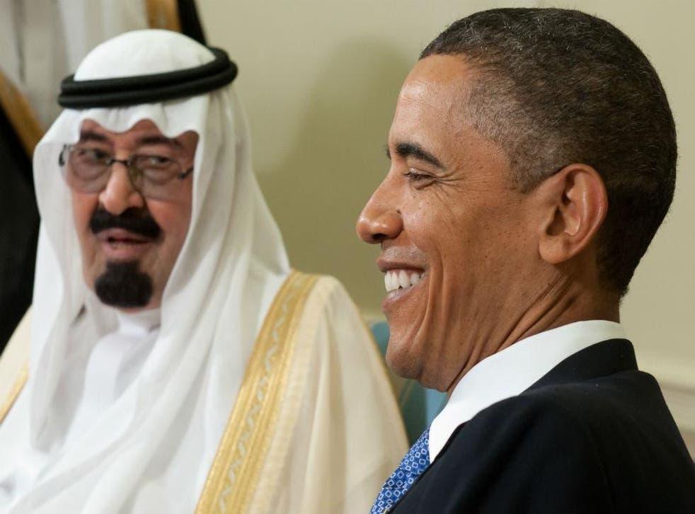 Barack Obama with King Abdullah of Saudi Arabia