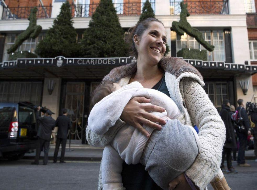 Carla Mastroianni, 30, from west London, breastfeeds her 7-month-old daughter, Sienna