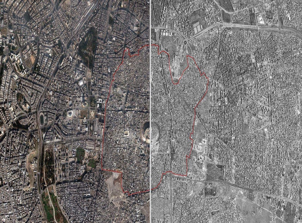 Satellite imagery showing the Ancient City of Aleppo