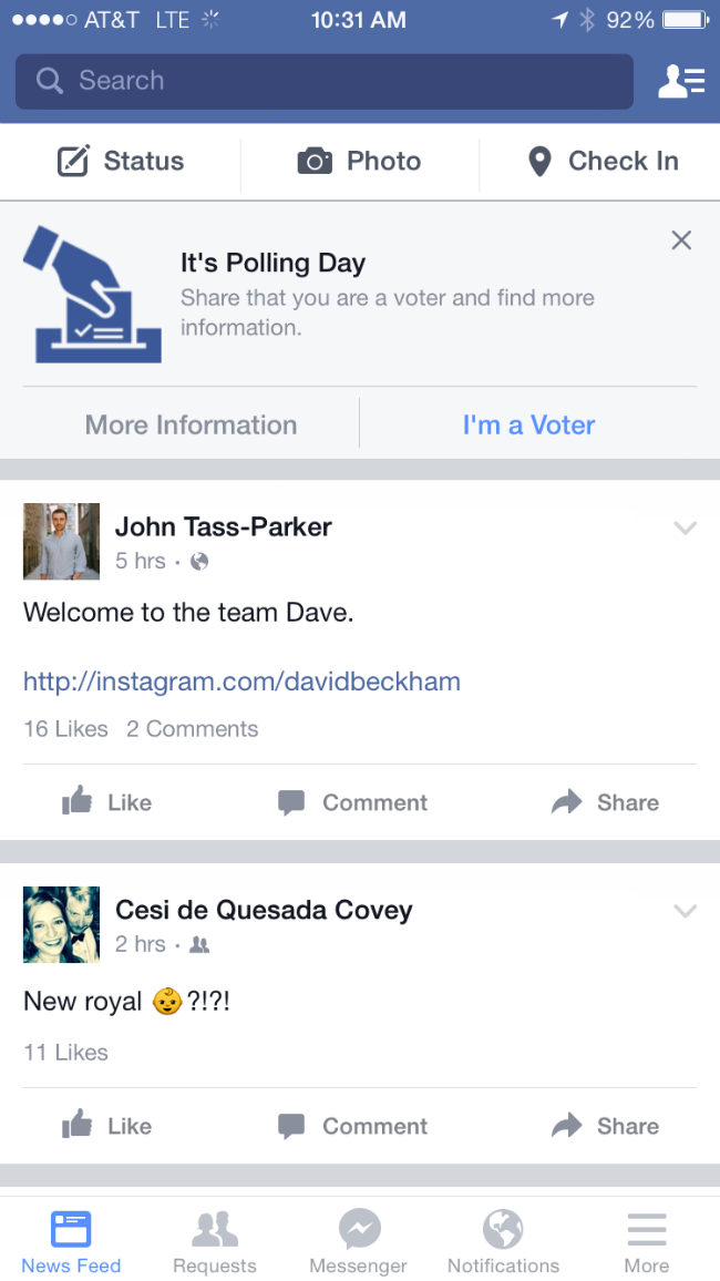 There's an 'I voted' button on Facebook for the general