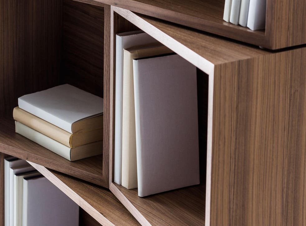 Stack the units in this bookshelf the conventional way, or put them on a slant