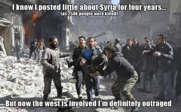 2232 46s787 people are making fake memes to point out the syrian civil war is