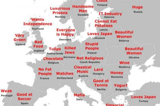The Japanese Stereotype Map Of Europe
