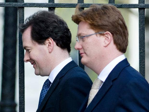 Chancellor of the Exchequer George Osborne (left) and Chief secretary to  the treasury Danny Alexander leave number 11, Downing Street Getty Images
