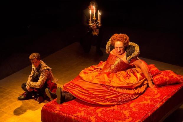 Suranne Jones as Orlando and Richard Hope as Chorus in ORLANDO by Virginia Woolf, adapted by Sarah Ruhl (Royal Exchange Theatre until 22 March). Photo Jonathan Keenan.jpg
