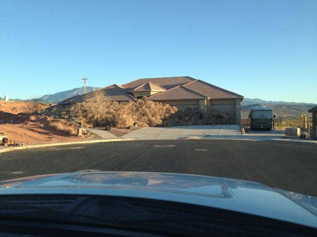 Utah House Almost Entirely Obscured By Tumbleweeds