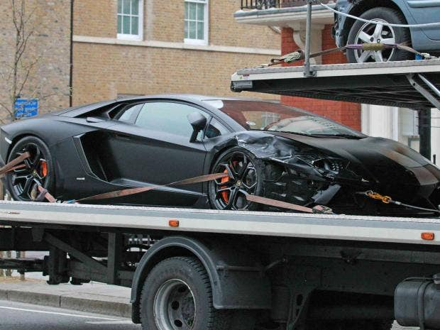 A Lamborghini Aventador That Was Crashed Into In Kensington London Evening Standard Gareth Richman