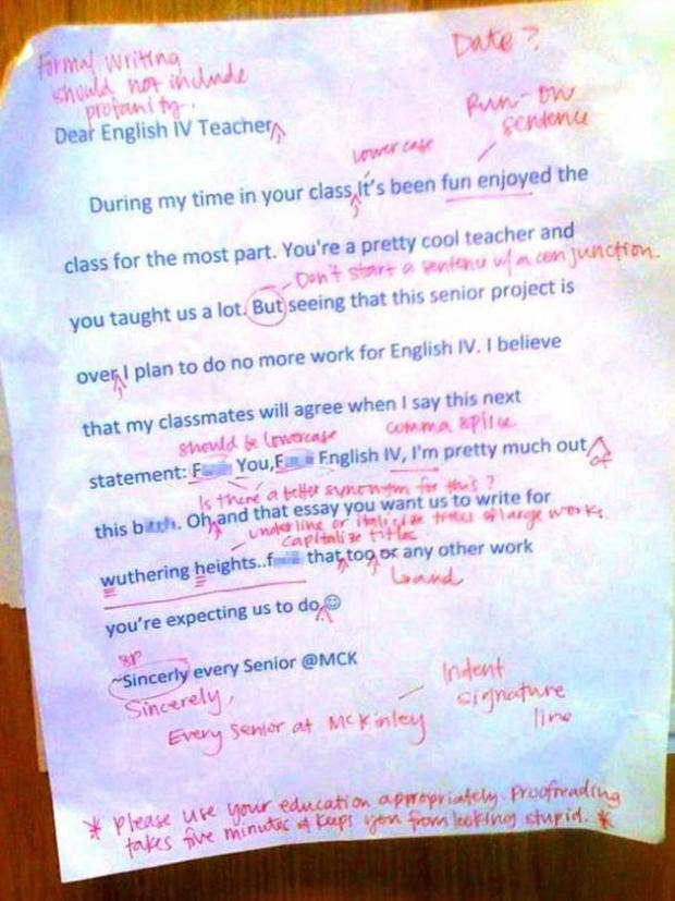 english teacher corrects abusive letter proofreading takes five  a