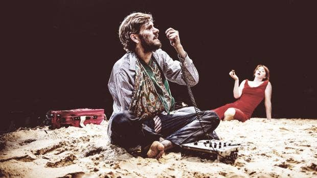 Holes - L-R Mathew Baynton (Gus) & Elizabeth Berrington (Marie) - The Arcola Tent - Photo By Idil SukanDraw HQ.jpg