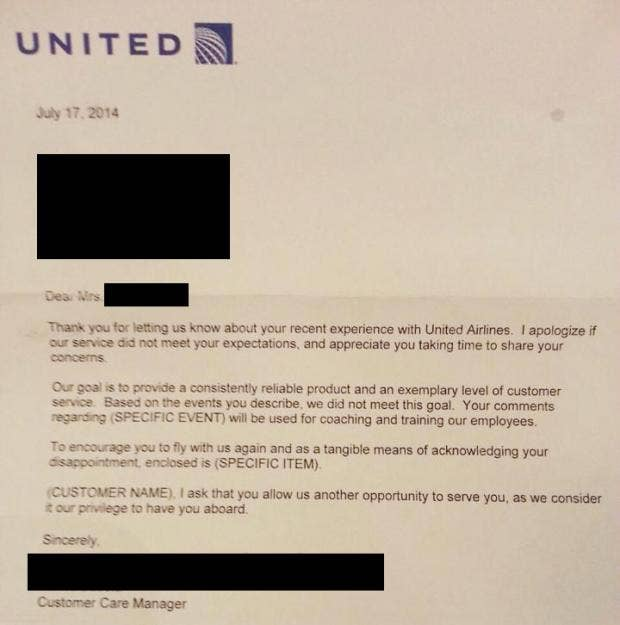 United Airlines Pens Least Sincere Apology Letter Of All Time
