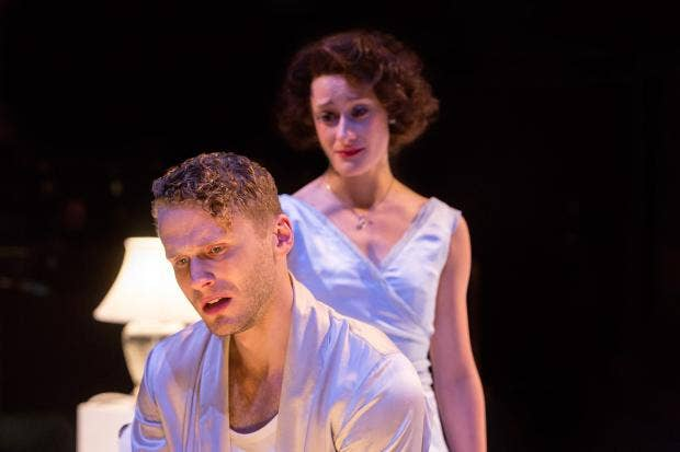 Charles Aitken as Brick and Mariah Gale as Maggie  in CAT ON A HOT TIN ROOF (Royal Exchange Theatre until  29 November). Photo - Jonathan Keenan.jpg