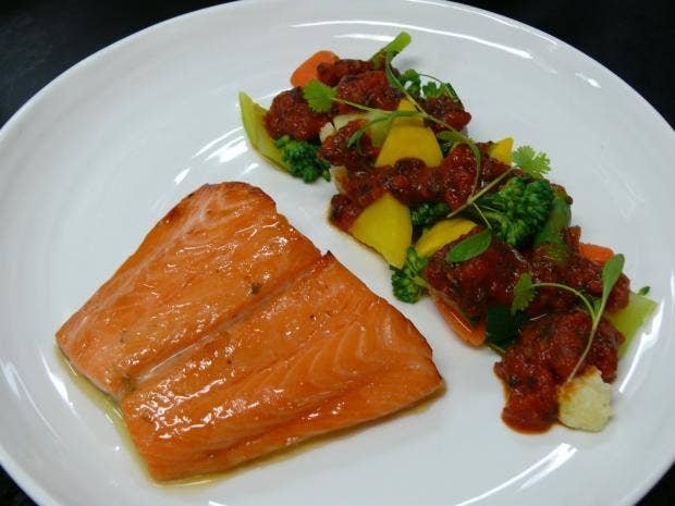 The Balcon - thick slice of salmon fillet, vierge sauce and seaweed condiment.JPG