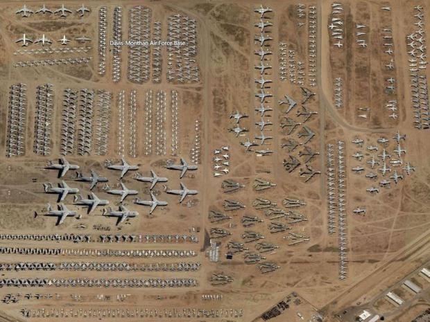 The Boneyard At The Davis Monthan Air Force Base In Arizona Houses 4 400 Planes Bing