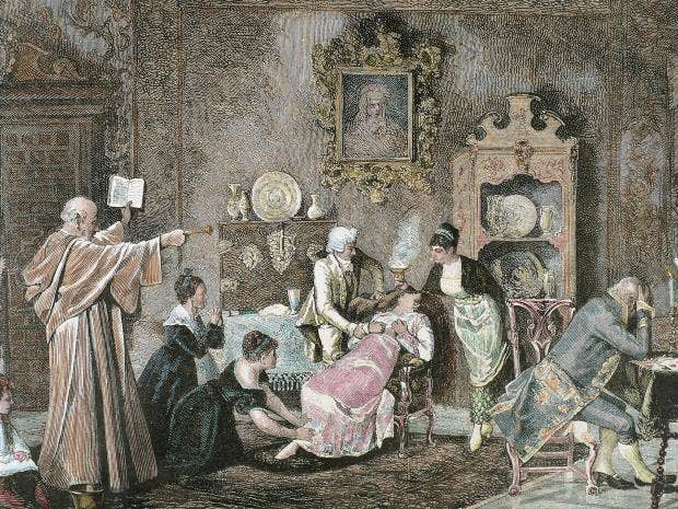 Exorcism what does the boom in demand tell us about pope franciss exorcism cleric doing a spell against the evil spirit engraving by recorded by c penoso 1878 universalimagesgroup solutioingenieria Images