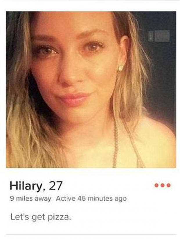 The actor Hilary Duff was reported to have joined Tinder earlier this year