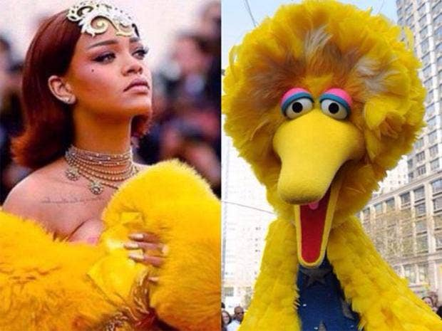 rihanna big bird met gala best memes and internet reactions to rihanna, beyonce