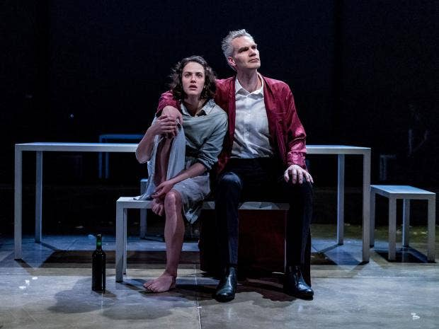 Jessica Brown Findlay and Angus Wright in Oresteia. Almeida Theatre. By Manuel Harlan.jpg