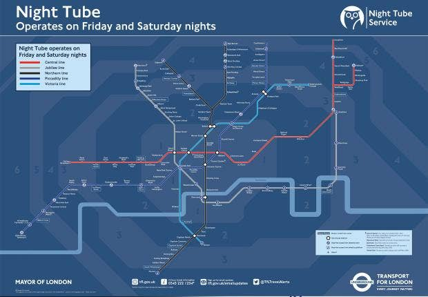 Night Tube map What London Underground lines will run and when