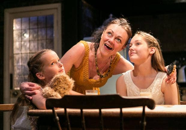 Charlotte Pourret Wythe as Young Lily, Gillian Kirkpatrick as Anna and Sophie Pourret Wythe as Young Laura in The House of Mirrors and Hearts. Photo Credit Darren Bell  (3).jpg